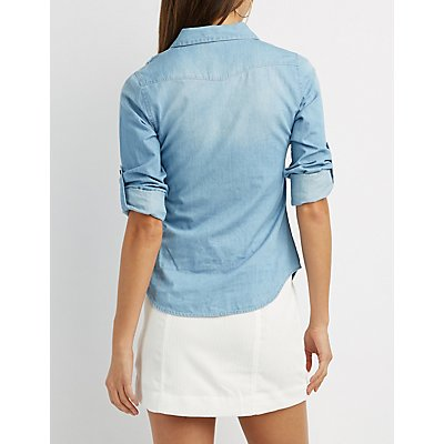Destroyed Chambray Button-Up Shirt