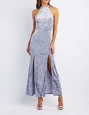 Velvet Mock Neck Maxi Dress