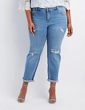 Plus Size Crop Destroyed Boyfriend Jeans