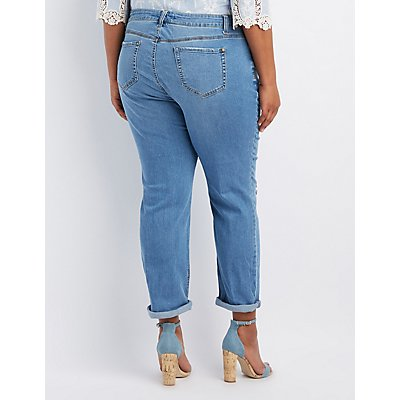 Plus Size Crop Destroyed Boyfriend Jeans