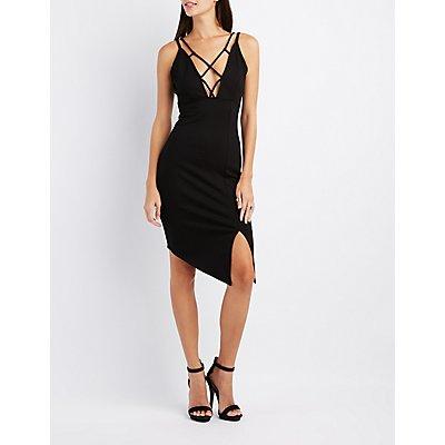 Strappy Asymmetrical Bodycon Dress