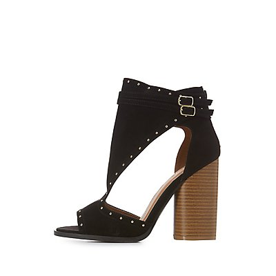 Studded Cut-Out Buckled Sandals