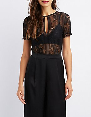 Sheer Lace Open-Back Bodysuit