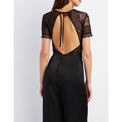 Sheer Lace Open-Back Bodysuit