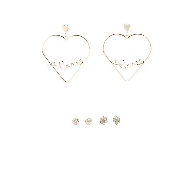Embellished Stud & Hoop Earrings - 3 Pack