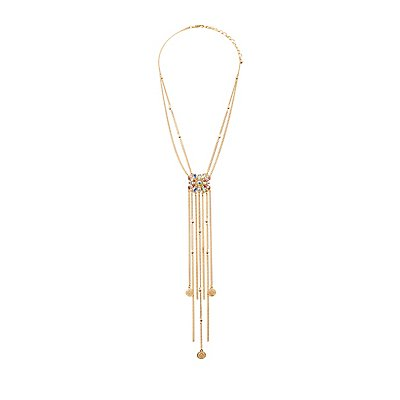 Embellished Chain Fringe Necklace