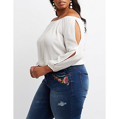 Plus Size Off-The-Shoulder Split Sleeve Top