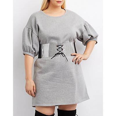 Plus Size Balloon Sleeve Sweatshirt Dress