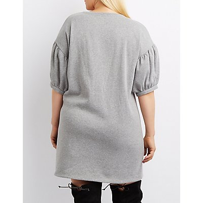 Plus Size Balloon Sleeve Sweatshirt Dress