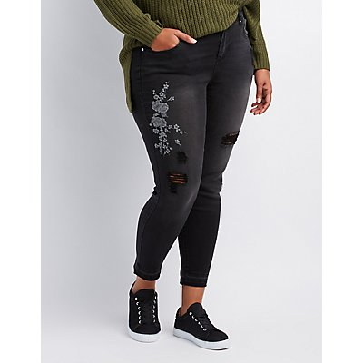 Plus Size Refuge Floral Patch Destroyed Skinny Jeans