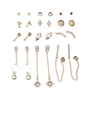 Geometric Stud & Drop Earrings - 12 Pack