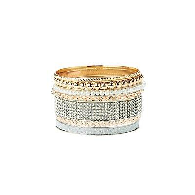 Embellished Bangle Bracelets - 7 Pack