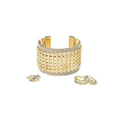 Embellished Stacking Rings & Cuff Bracelets Set