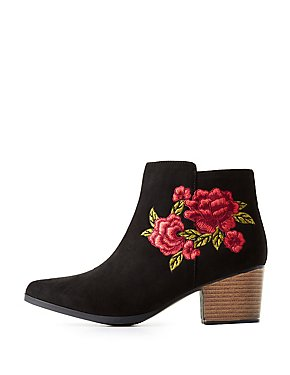 Embroidered Pointed Toe Booties