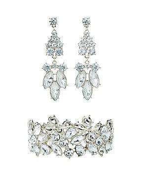 Crystal Bracelet & Chandelier Earrings Set