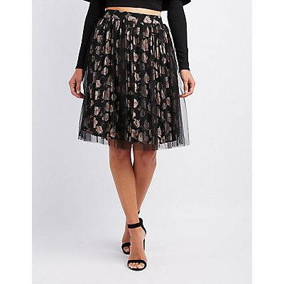 Mesh Overlay Floral Pleated Skirt
