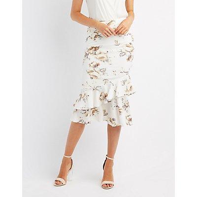 Floral Ruffle-Trim Midi Skirt