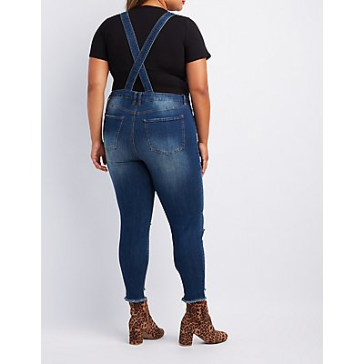 Plus Size Refuge Button-Up Denim Overalls