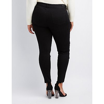 Plus Size Fishnet-Inset Destroyed Skinny Jeans