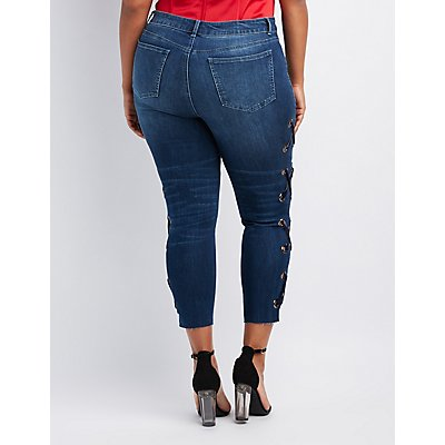Plus Size Lace-Up Detail Skinny Jeans
