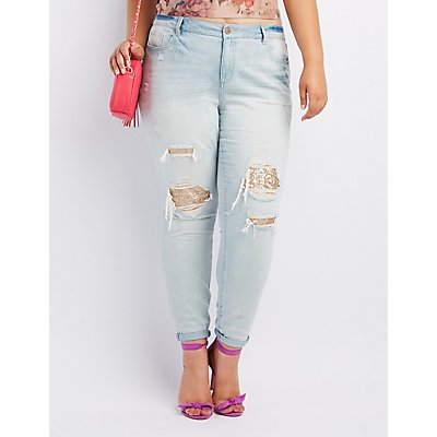 Plus Size Refuge Sequin-Inset Destroyed Skinny Jeans