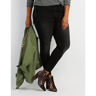 Plus Size Lace-Up Skinny Jeans