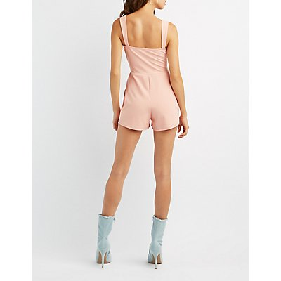 Notched Strappy Romper