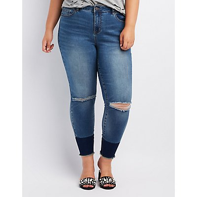 Plus Size Destroyed Hi-Rise Skinny Jeans