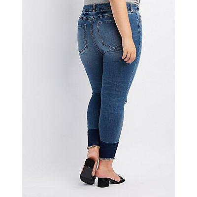 Plus Size Destroyed Hi-Rise Skinny Jeans