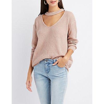 Choker Neck Cut-Out Sweater