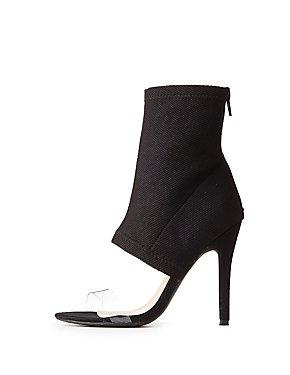 Clear Strap Knit Sock Heels