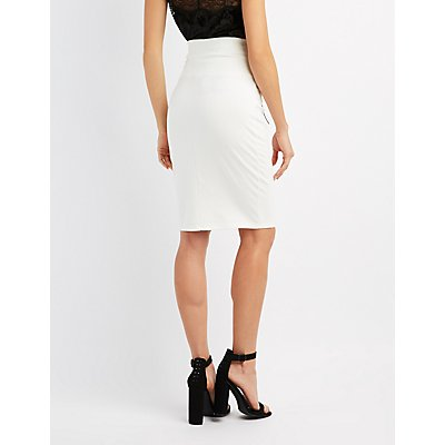 Corset-Detail Bodycon Midi Skirt