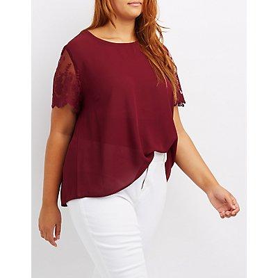 Plus Size Lace-Sleeve Chiffon Top
