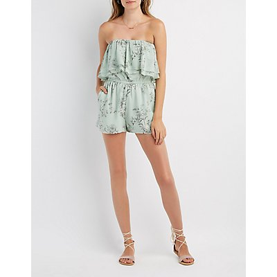 Floral Ruffle Strapless Romper