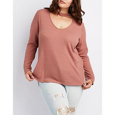 Plus Size Waffle Knit Choker Neck Top