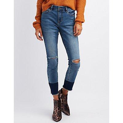 Refuge Hi-Rise Colorblock Skinny Jeans