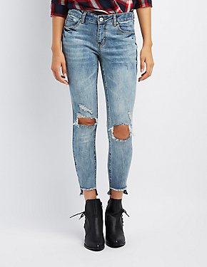 Refuge Acid Wash Step Hem Destroyed Skinny Jeans