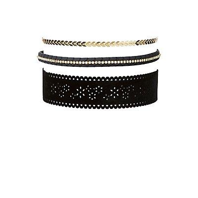 Plus Size Embellished Choker Necklaces - 3 Pack