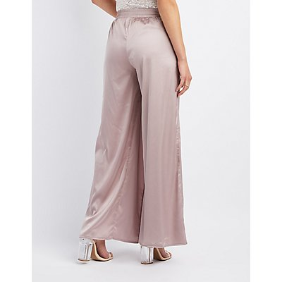 Satin Slit Wide-Leg Pants