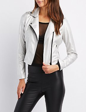Metallic Faux Suede Moto Jacket