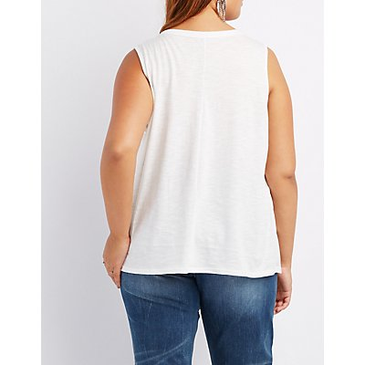 Plus Size Distressed Tank Top