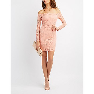 Lace Off-The-Shoulder Bodycon Dress