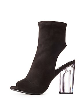 Peep Toe Clear Heel Booties
