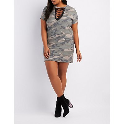 Plus Size Camo Lace-Up Front Dress