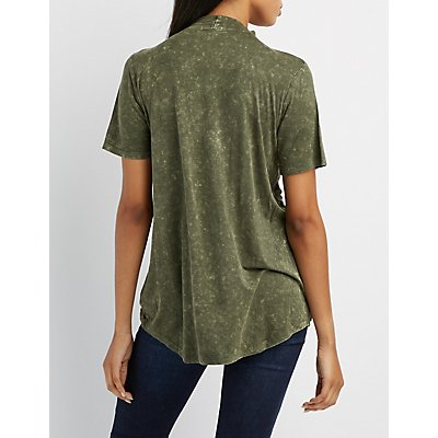 Mineral Wash Choker Neck Cut-Out Tee
