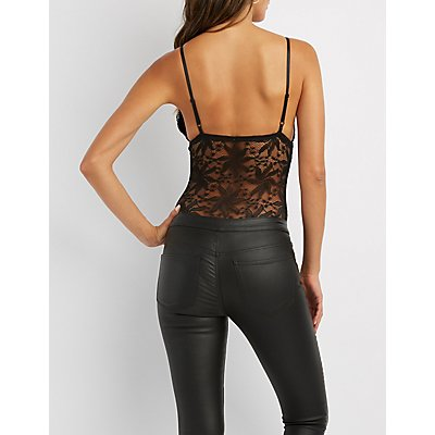 Caged Sheer Lace Bodysuit
