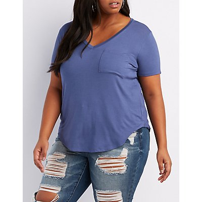 Plus Size V-Neck Boyfriend Pocket Tee