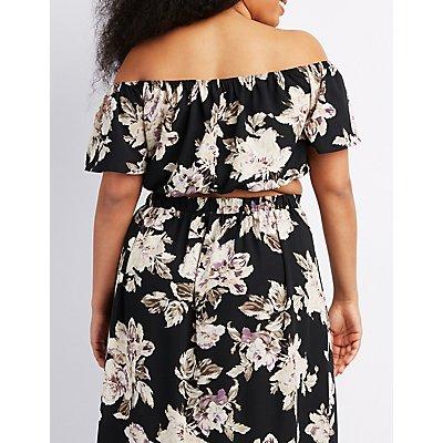 Plus Size Floral Off-The-Shoulder Crop Top
