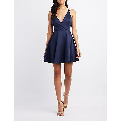 Surplice Strappy-Back Skater Dress