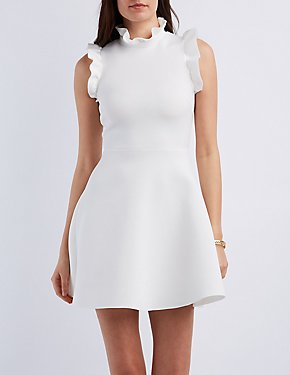 Ruffle-Trim Sleeveless Skater Dress